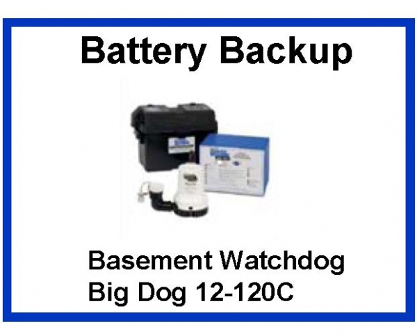 Pictured is the Basement Watchdog Big Dog BWD12-120C Battery Backup Sump Pump.